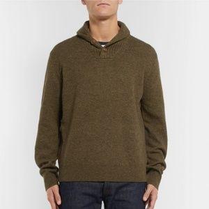 J Crew XL Wool gray khaki shawl collar sweater
